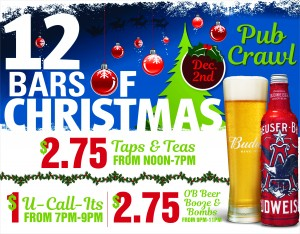 the 12 bars of christmas crawl is coming to town saturday december 2nd from 12pm 8pm grab your best holiday onesies santa suits ugly sweaters